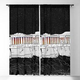Parthenon black and white Blackout Curtain