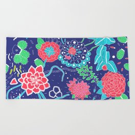 Flowers and Cactus Beach Towel