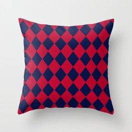 Red blue geometric pattern Throw Pillow