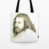 thorin Tote Bags featuring Thorin Oakenshield by Zalazny