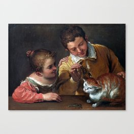 Annibale Carracci Two Children Teasing a Cat Canvas Print