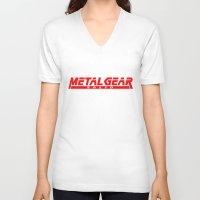 metal gear V-neck T-shirts featuring Metal Gear Solid red by Hisham Al Riyami