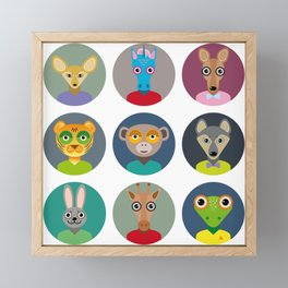 Set of animals faces circle icons set in Trendy Flat Style. zoo Framed Mini Art Print