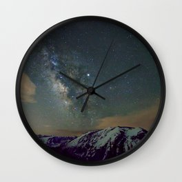Watercolor Nightscape Milky Way Ute Trail, Rocky Mountain National Park, CO Wall Clock