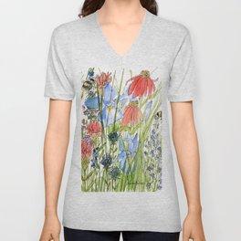 Botanical Garden Wildflowers and Bees Unisex V-Neck