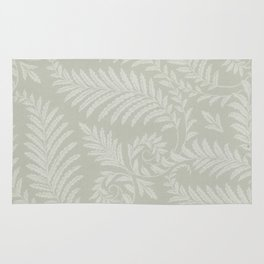 Fancy Scroll Leaves on Pale Green Background Rug