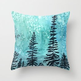 Night forest Throw Pillow