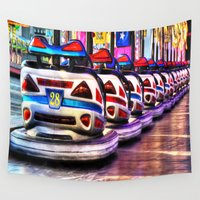 cars Wall Tapestries featuring Bumper cars by Simon Ede Photography