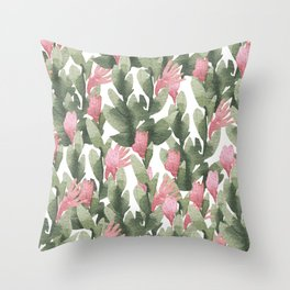 Watercolor pink gable green abstract cactus floral Throw Pillow