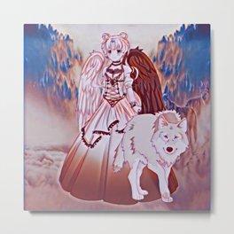 Wolf Princess Monochrome (white wolf) Metal Print