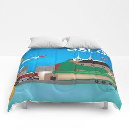 Oslo, Norway - Skyline Illustration by Loose Petals Comforters
