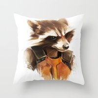 rocket raccoon Throw Pillows featuring Rocket by cos-tam