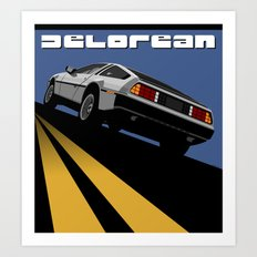 Delorean - Retro Poster; Blue (Rear View) Art Print