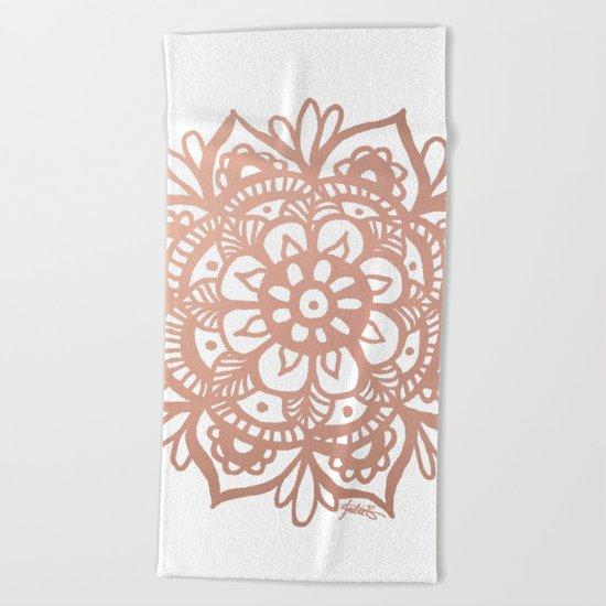 Rose Gold Mandala Beach Towel