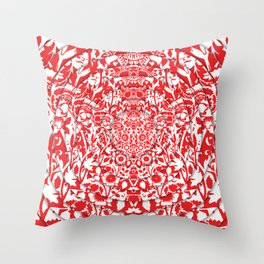 Illusionary Daisy (Red) Throw Pillow