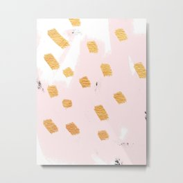 Blushing Golds Abstract Metal Print