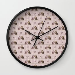 Owls in love (pink) Wall Clock