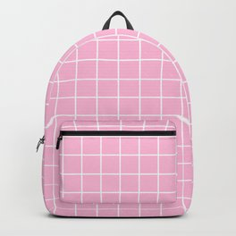 Cotton candy - pink color - White Lines Grid Pattern Backpack