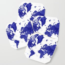 """Navy blue watercolor world map with cities, """"Ronnie"""" Coaster"""