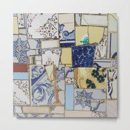 Broken ceramic tiles patchwork Metal Print