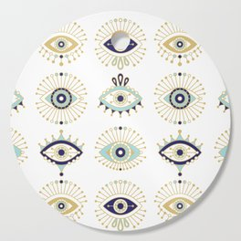 Evil Eye Collection on White Cutting Board