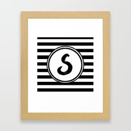 S Striped Monogram Letter Framed Art Print
