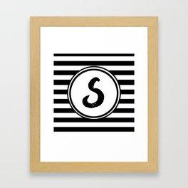 S Striped Monogram Letter Framed Art Print