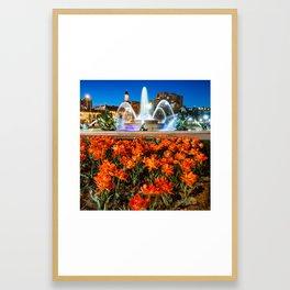 JC Nichols Fountain in Spring - Square Format Framed Art Print