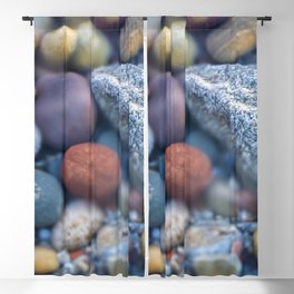 Colorful pebbles covered by ocean water Blackout Curtain