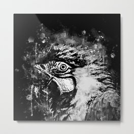 ara blue yellow macaw parrot bird portrait watercolor splatters black white Metal Print