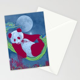 Goodnight, Panda - Colorful Starlight Night Sky Stationery Cards