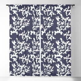 Cool White Coral on Ocean Blue Blackout Curtain