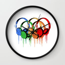 Colorful Headphones Wall Clock