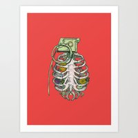 garden Art Prints featuring Grenade Garden by Huebucket