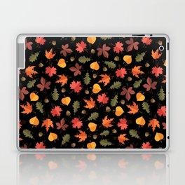 Autumn Leaves Pattern Black Background Laptop & iPad Skin