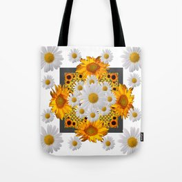 WHITE DAISIES FLORAL & YELLOW SUNFLOWERS FLOWERS Tote Bag
