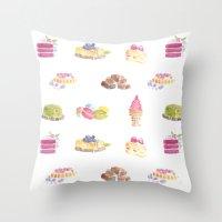 dessert Throw Pillows featuring Dessert Pattern by Stephanie Priscilla