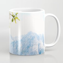 Pastel Apple Blossoms and Mountains Coffee Mug