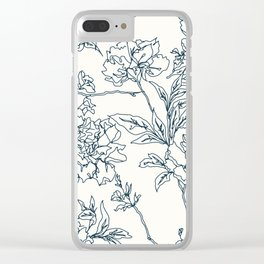 Navy and Cream Vintage Chinoiserie Botanical Floral Toile Wallpaper Pattern Clear iPhone Case