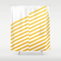 bands Shower Curtains featuring Yellow bands by blacknote