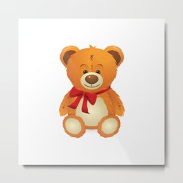 Teddy bear with red bow Metal Print