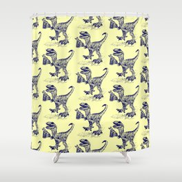Tipsy Velociraptor with Beer Pattern Shower Curtain
