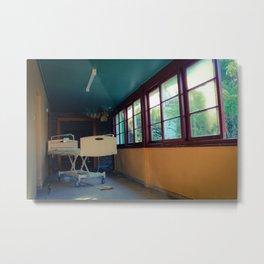 Hospital Bed in Hallway Metal Print