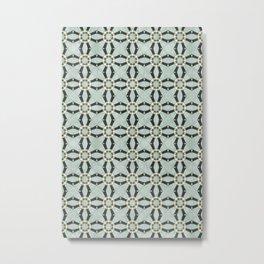 Aqua & golden Marble Decorative Art Deco Tile Pattern Metal Print