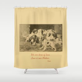 English Setter puppies & Mother's Day quote Shower Curtain
