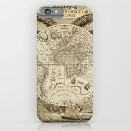 Antique world map with sail ships, sepia iPhone Case