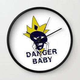 Danger baby - Skull funny design #society6 #decor #buyart #artprint Wall Clock