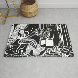 Unique Black and white Drawing: 'Lucia' Rug