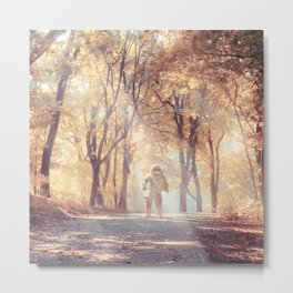 Astronaut In Autumn Forest Metal Print