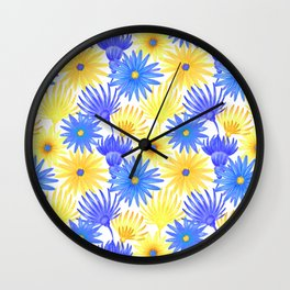 Modern blue yellow watercolor hand painted flowers Wall Clock